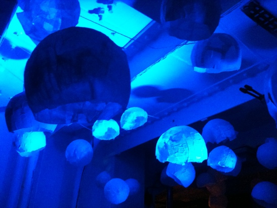 """Jellyfish created by the creative community in Medway on LV21 for the fish disco organised by Moogie Wonderland. LV21 is the venue for """"Hooked Up""""."""