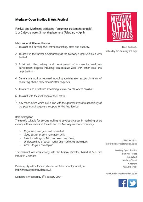 Festival & Marketing Assistant, Volunteer Placement - Role description