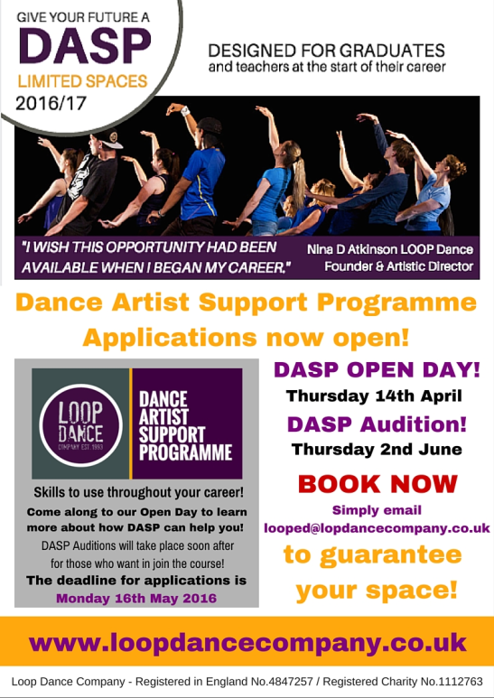 Dance Artist Support Programme -Applications now open! 2016-2017